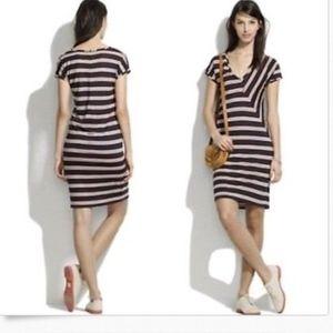Madewell Small Tee Dress Navy Asymmetrical Striped